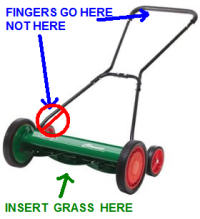 mower, insert grass here