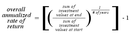 overall annualized rate of return = [(sum of investment values at end / sum of investment values at start)  ^ (1 / # of years)] - 1