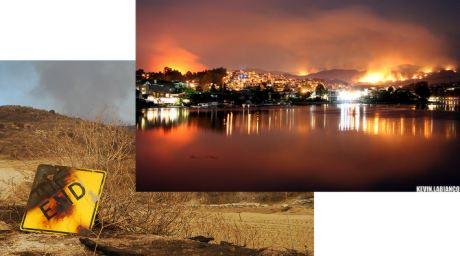 left: santiago fire by orbital246, right: santiago wildfire by Kevin Labianco
