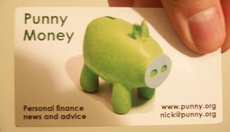 the actual punny money business card